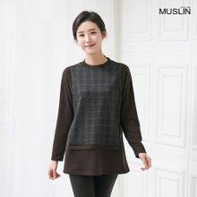 엄마옷 모슬린 체크 레이어드 티셔츠 TS910080