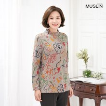 엄마옷 모슬린 꽃자카드 기모 반폴 티셔츠 TP910345
