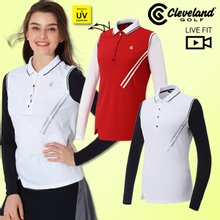 [클리브랜드골프]플리츠넥 썬가드 여성 골프 긴팔티셔츠/골프웨어_CGKWTS965