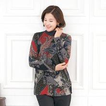 엄마옷 모슬린 페이즐리 기모 반폴라 티셔츠 TP910356