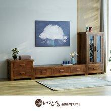 해찬솔 소나무 통원목 평창뜰거실장_본장+2단+장식장/원목거실장/TV장식장/거실장