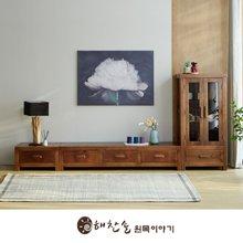 해찬솔 소나무 통원목 평창뜰거실장_본장+1단+장식장/원목거실장/TV장식장/거실장