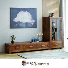 해찬솔 소나무 통원목 평창뜰거실장_본장+장식장/원목거실장/TV장식장/거실장