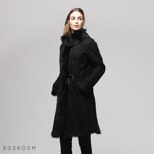 [보스룸]여성 천연 양털 모피 토스카나 하이넥 리본허리끈 긴기장 무스탕 코트 블랙