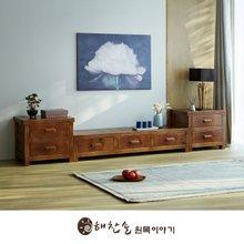 해찬솔 소나무 통원목 평창뜰거실장_본장+2단장+2단장/원목거실장/TV장식장/거실장