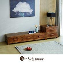 해찬솔 소나무 통원목 평창뜰거실장_본장+2단장/원목거실장/TV장식장/거실장