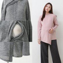 [스위트플러스]기모 사선랩 수유티셔츠 임부복/수유복/임산부/모유수유