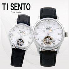 티센토(TISENTO) 남녀손목시계(TS50301WTBK/가죽/오토매틱)택1