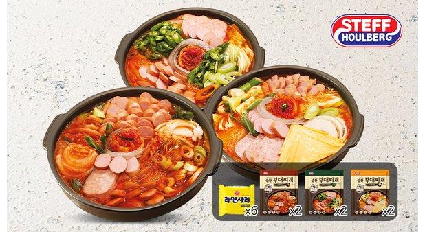 [스테프] 알찬 부대찌개(김치/청양/치즈) 6팩+라면사리 6개 세트