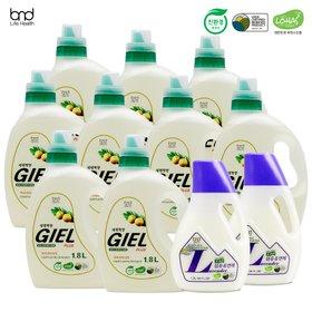 [세제혁명] 지엘플러스 액체세제 1.8L x9통+라벤더 섬유유연제 1.3L x2통