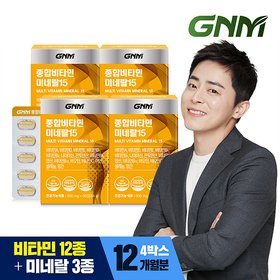 [GNM자연의품격] 멀티 종합비타민 미네랄 15종 3개월분 x 4박스 (총 12개월분)